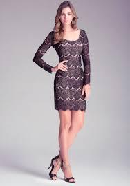 bebe long sleeve lace dress in purple lyst