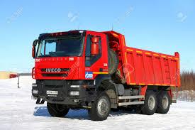 100 Red Dump Truck Novyy Urengoy Russia April 8 2018 Iveco AMT