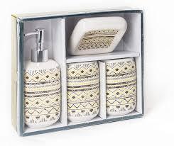design 1 4 teiliges boho badezimmer zubehörset aus keramik