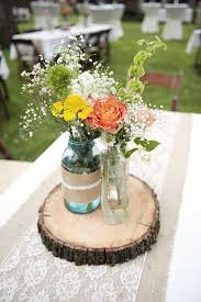 Mason Jar Centerpiece With Burlap And Lace