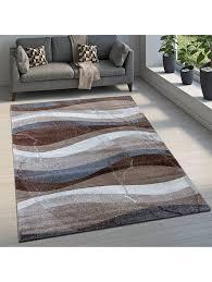 paco home designer teppich modern kurzflor wellen optik abstrakt braun beige grau klingel