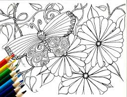 Printable Butterfly Garden Coloring Page Zendoodle