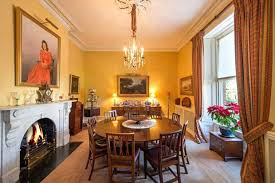 Exotic Victorian Home Life The Dining Room Features A Marble Fireplace For Poor