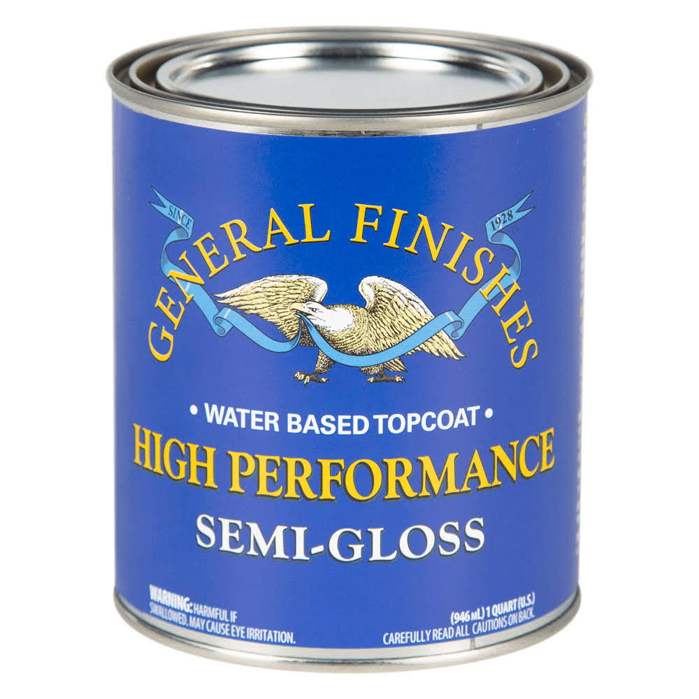 General Finishes QTHSG High Performance Water Based Topcoat - 1 qt, Semi-Gloss