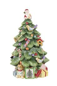 Spode Christmas Tree Sculpted Shaped Covered Cookie Jar 12 Inch