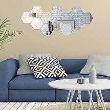 valeny 12 stück wandspiegel spiegelfliesen aufkleber hexagon spiegel aus acryl wandaufkleber für badezimmer küche wohnzimmer schlafzimmer 20