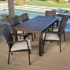Charlton Home Avenir Outdoor Wood Wicker 7 Piece Dining Set With ... Outdoor Wicker Ding Set Cape Cod Leste 5piece Tuck In Boulevard Ipirations Artiss 2x Rattan Chairs Fniture Garden Patio Louis French Antique White Back Chair Naturally Cane And Plantation Full Round Bay Gallery Store Shop Safavieh Woven Beacon Unfinished Natural Of 2 Pe Bah3927ntx2 Biscayne 7 Pc Alinum Resin Fortunoff Kubu Grey Dark Casa Bella Uk Target Australia Sebesi 2fox1600aset2