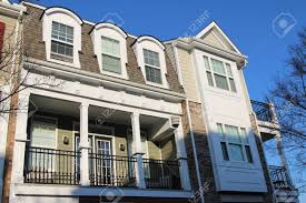 100 Townhouse Facades Modern Townhouse Facades In The Sunny Day Low Camera Angle View