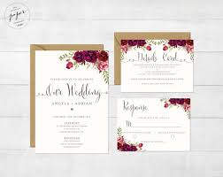 Floral Wedding Invitation Printable Suite Rustic Invite Boho Peonies III Sangria