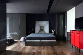 Cool Apartment Bedroom Ideas Decorating With Low Wooden Bed And Black Carpet Also