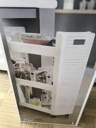 neu ovp nischenregal regal auf rollen weiß küche bad rollwagen