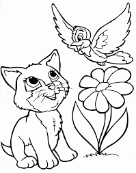 Cat Color Pages Printable Kitten Coloring Dog And Pete The Sheet