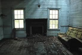 Turner County GA Vernacular Cracker Farmhouse Ruins Abandoned Yellow Sofa Couch Blue Beaded Wainscoated Walls Pictures Photo Copyright Brian Brown Vanishing