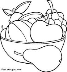 Printable Fruits Pear Grape Watermelon And Apple Coloring In Pages