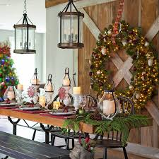 Christmas Decorations Around A Dining Table On Room Centerpiece