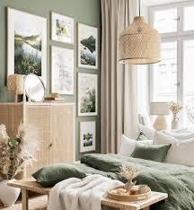 frühlingshafte blumen bilderwand schöne blumenbilder schlafzimmer grün