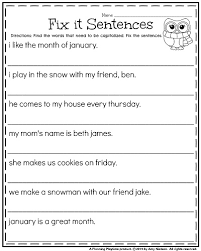 Is Halloween Capitalized by 1st Grade Worksheets For January Sentences Worksheets And January