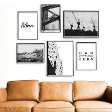 hamburg bilder 6er poster set für dein wohnzimmer schwarz weiß