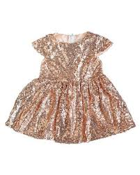 Girls Rose Gold Sequin Party Dress