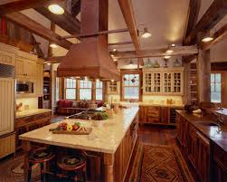 Wonderful Country Kitchen With Rustic Island Home Design And Decor Image Of Antique