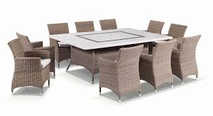Details About Outdoor Travertine Stone 10 Seater Dining Table & Wicker  Chairs Furniture Set