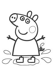 Peppa Pig Coloring Pages Playing Water