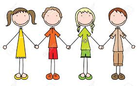 Illustration Of Four Kids Holding Hands In Summer Clothes Stock Vector
