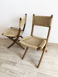 Pair Of Mid Century Folding Rope Chairs- 2 Chairs – Home Union NYC Vintage Mid Century Modern Folding Rope Chairs In The Style Of Hans Wegner 1960s Danish Bench Vonvintagenl Catalogus Roped Folding Chairs Yugoslavia Edition Chair Restoration And Wood Delano Natural Teak Outdoor Midcentury Pair Cord And Ebert Wels The Conran Shop