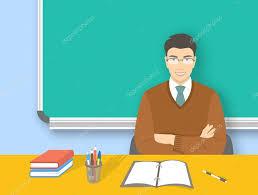 bureau enseignant école enseignant asiatique homme à illustration plat education