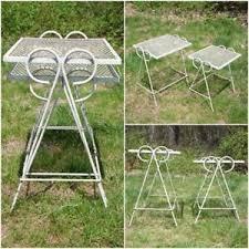 Salterini Iron Patio Furniture by Vintage Set Wrought Iron U0026 Wire Mesh Metal Nesting Tables Patio
