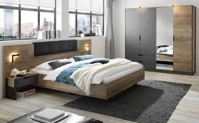 schlafzimmer komplett galen in eiche montana und matera grau komplettzimmer mit bett kleiderschrank und 2x nachttisch