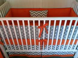 Sumersault Crib Bedding by Gray And Orange Fabric For Nursery Crib Bedding Set Gray White