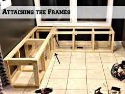 Attaching Two Frames For A Corner Banquette Bench, Pinterior ... Diy Kitchen Banquette Bench Using Ikea Cabinets Hacks Pics On Fniture Elegant Ding Design With Cool Corner How To Build Seating Howtos Diy To Plans For A Breakfast Nook Home Pinterest Tos And Storage Enchanting 25 Mudroom Bed Hall Unit Hallway Shoe From Bistro Into Your Home Photo Remarkable Building Supports Super Nova Wife