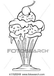 Stock Illustration Ice cream sundae Outline Fotosearch Search Vector Clipart Drawings