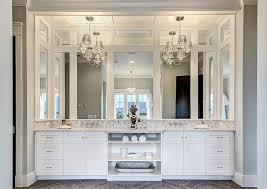 chandelier over vanity transitional bathroom clark and co homes