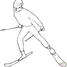 Coloriage Thème De Bonhomme De Neige Ski Livre 1 Image Vectorielle