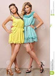 two beautiful women in summer dresses stock photos image 24258973