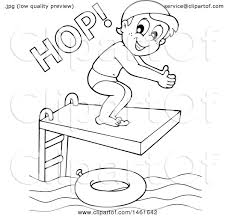 Clipart Of A Black And White Boy Hopping On Diving Board