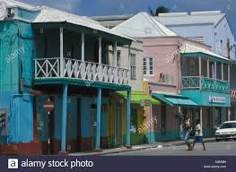 Pastel Coloured Buildings In Traditional Caribbean Style Line Bay Street Downtown Bridgetown Capital Of Barbados
