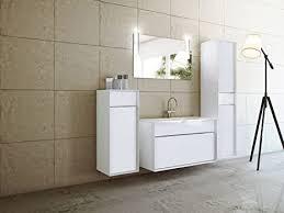 badmöbel set atessa italienisches design 110 cm breit holzdekor weiß badezimmermöbel waschtisch hochschrank spiegelschrank mit beleuchtung
