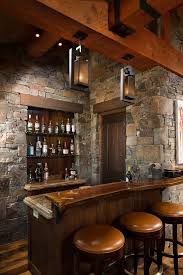 Rustic Home Bar With Glass Shelves Live Edge