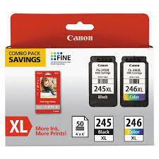 Canon 8278B005 PG 245XL CL 246XL Ink Paper Combo Pack