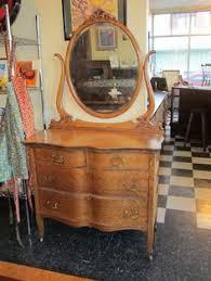 Tiger Oak Serpentine Dresser by 1900 1910 Oak Old Finish Larkin Oval Mirror Claw Foot Low Boy