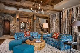 Example Of A Mountain Style Open Concept Dark Wood Floor Family Room Design In Other With