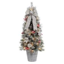 Home Accents Holiday 4 Ft Snowy Pinecone And Berry Artificial Christmas Porch Tree With 50