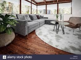 modernes wohnzimmer mit grünen pflanze im topf und dem tisch