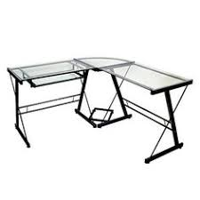 this modern computer desk features a metal frame and glass