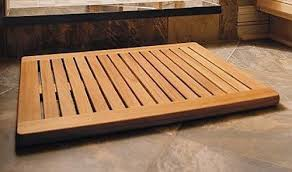 TeakStation Grade A Teak Wood Rectangular Large 30x24 Door Shower Spa Bath Floor Mat With Rounded Corners