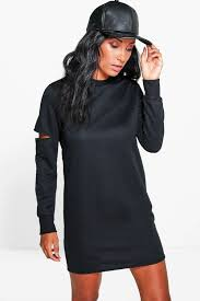 charly cut out sleeve sweat dress boohoo