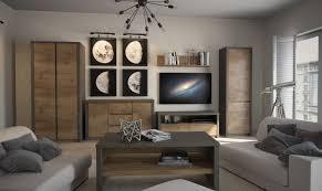 easy möbel wohnzimmer komplett set c selun 6 teilig farbe eiche dunkelbraun grau